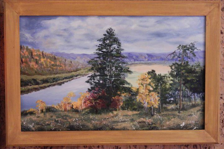 осенний пейзаж река картина