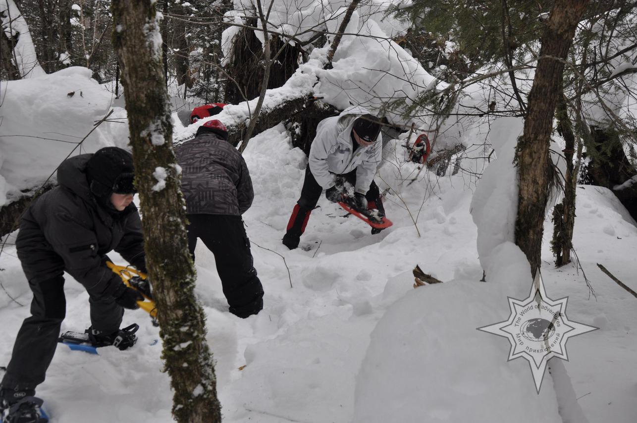 Снегоступ в качестве лопаты, школа снегоступинга