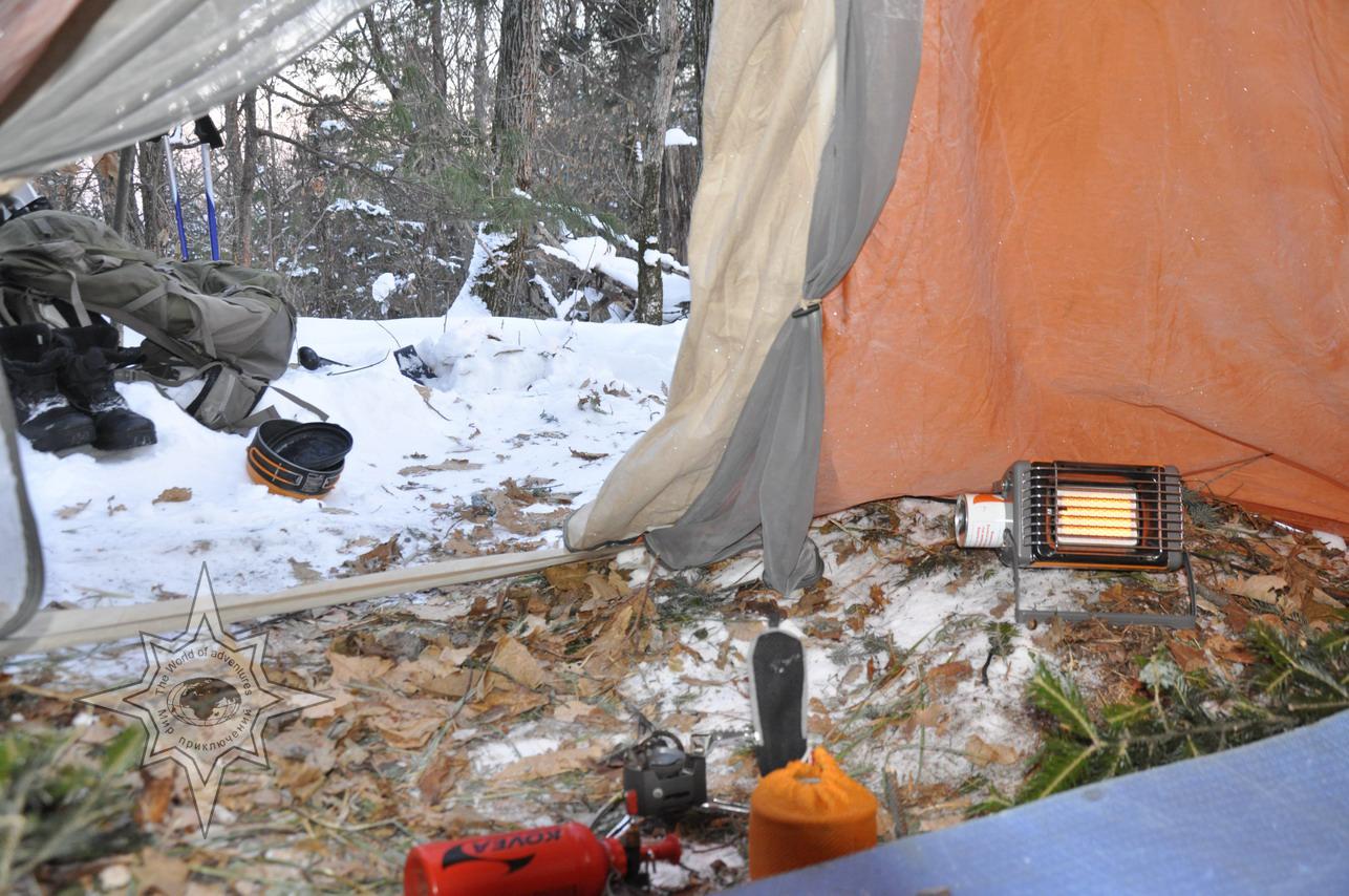 Отопление зимой в палатке