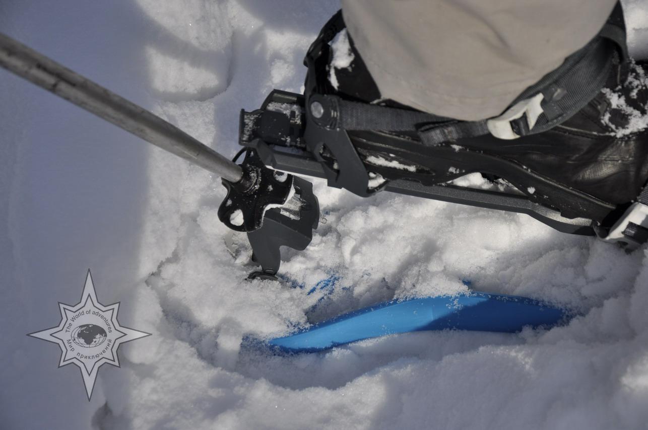 Работа пяточного упора, школа снегоступинга