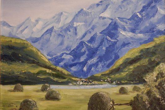 картина, альпийский пейзаж
